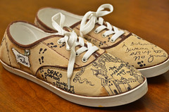 Harry Potter Shoes (1) (Chris Gent) Tags: harrypotter maraudersmap hogwartsschoolofwitchcraftandwizardry shoes magical document remuslupin moony peterpettigrew wormtail siriusblack padfoot jamespotter prongs