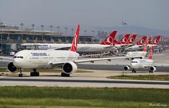 Follow Me Kid! (birrlad) Tags: istanbul ist ataturk international airport turkey aircraft aviation airplane airplanes airline airliner airlines airways taxi taxiway takeoff departing departure runway boeing b777 b773 777 777300er 7773f2er tcjjp airbus a320 a320200 a320232 tcjue