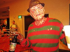 IMG_9028 (kennethkonica) Tags: canonpowershot canon global random hoosiers outdoor talking candid street streetphotography marioncounty midwest america usa indiana indianapolis indy hat horrorhound sweater bottle cup freddykrueger mask costumecontest red stripes fedora pose posing horror costume slasher slash people persons