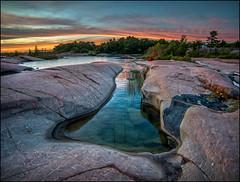Evening At Big Rock (Rodrick Dale) Tags: georgian bay killarney provincial park ontario canada rock sky water camping reflections granite pool