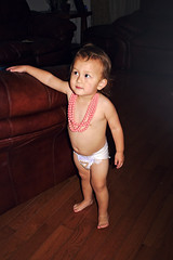 Pink necklace toddler (Scott SM) Tags: two year old toddler 2 pink necklace couch diaper