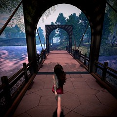 Take A Walk On The Wild Side (mj4ust) Tags: bridge walk elf reddress brunette secondlife iwp greenhaven isleofwhisperingpines photography fantasy
