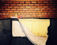 A cosy night out (WatermelonHenry) Tags: dumped abandoned stains foam abandonded lonely dinning alfresco ripped can drink manchester bricks street takeout tango sofa pizza fizzy pepperoni dominos