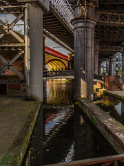 Castlefield Manchester (Blackburn lad1) Tags: archway bridge canal manchester steel pillar red yellow