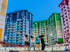 Dab lol (drumbunkerdragon) Tags: dab singapore rochor centre hdb gonna tear down soon sad evening twilight hour blue sky rainbow yellow green red pink apartments old low light sony rx1r ii human people colorful colourful