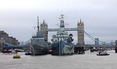HMS Belfast & Brasil (U27) (surreyblonde) Tags: london thames riverthames river water tide boats ships tidal portoflondon vessel floating canon g15 u27 brasil hmsbelfast towerbridge trainingship riodejanero battleship