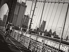 Brooklyn Bridge, NYC (SG Dorney) Tags: ny nyc newyork newyorkcity blackandwhite bw blackwhite mono monochrome brooklynbridge bike bicycle