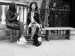 Attitude (Martyn61) Tags: fujifilm x100t bw blackandwhite monochrome fashion girls dublin powercourt man bench bluehair smoking proud trainers citycentre streetphotography shootfromthehip eyecontact social attitude ireland thesouth people
