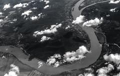 Winding through Hungary (mikebakker2) Tags: hungary magyarorszag ungarn river duna donau danube landscape hills clouds bw monochrome europe europa airplane plane flight aerial