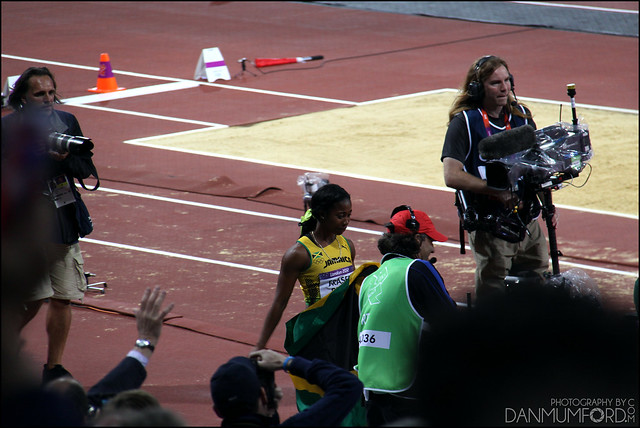 Shelly-Ann Fraser-Pryce after winning Gold in the women's 100m final!