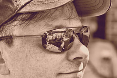 Taking in the View (ftoomschb) Tags: portrait reflection face hat closeup sepia kurt sony shades alpha dslr a700