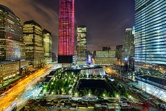 The World Trade Center, New York City on August 9, 2012 (mudpig) Tags: nyc longexposure ny newyork building fountain skyline night geotagged hotel newjersey construction jerseycity downtown cityscape crane nj 7 hudsonriver wtc gothamist lighttrails westsidehighway groundzero footprint hdr groundzeromemorial weststreet traffictrails goldmansachs lightstream freedomtower september11memorial mudpig 1worldtradecenter stevekelley nationalseptember11memorial stevenkelley worldcenterhotel worldcenter4