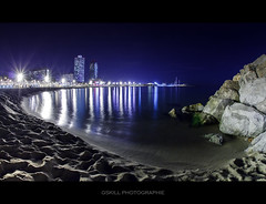 BCN's Beach (Gskill photographie) Tags: barcelona light mer beach night canon reflections dark lights bcn playa fisheye espana reflet vague espagne plage reflets barcelone 10mm sigmaf28 meditteranne gskill 60d francelandscapes