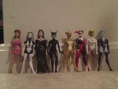 JLU Woman villains (Popcorn677) Tags: girls woman silver comics dc banshee harley quinn cheetah jlu tala universe figures catwoman mattel giganta livewire galatea