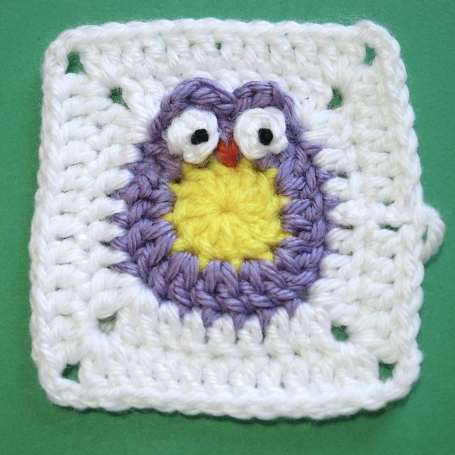 owl granny square free crochet pattern afghan block 4 inches
