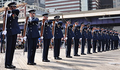 USAF Honor Guard Drill Team performs at South Street Seaport (Official U.S. Air Force) Tags: nyc newyorkcity usa newyork southstreetseaport airforce usaf usairforce airmen airforceweek usairforcehonorguarddrillteam