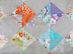 cross quilting, Fortunate (rosecoloredquilts) Tags: quilt moda charm scrap hst goodfortune konaash
