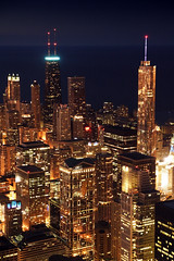 Chicago Night (Steven W Moore) Tags: city travel vacation urban chicago skyline architecture night buildings lights illinois downtown cityscape canonrebelxt canonefs1585mmf3556isusm stevenwmoore
