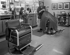 Leonard Barbers, Ann Arbor, MI (mat4226) Tags: longexposure blackandwhite bw haircut stain monochrome mi analog fuji photographer michigan w wide annarbor shift wideangle swing 8x10 barbershop barber hp5 f56 pyro leonard tilt ilford fujinon analogphotography largeformat movements n1 zonesystem barbers oa filmphotography eastmankodak pyrocat 210mm filmisnotdead biggerisbetter 8x10film trayprocessing stainingdeveloper expandeddevelopment eastmancommercialb compensatingdeveloper dilutedeveloper obsidianaqua analogspulse analogclev