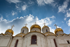 In Kremlin (dorochina) Tags: blue red sky cloud white building church architecture square gold golden cityscape power cross russia top moscow religion center christian cupola onion shape russian orthodox monarchy kremlin