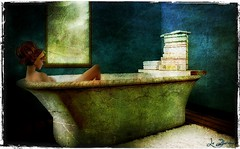 Time for relaxing (La Baroque ( Laura )) Tags: woman girl mirror books secondlife bathtube