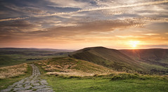 Sunset from Mam Tor (Vemsteroo) Tags: road light sunset summer motion green canon landscape freedom evening countryside derbyshire peakdistrict scenic junction hills adventure direction journey 5d british balance winding peaks lush exploration f4 connection onthemove mamtor mkiii mk3 beautyinnature 24105mm ndgrad thewayforward leefilters
