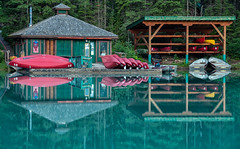 Emerald Lake Boat Rental (`James Wheeler) Tags: park old travel blue trees summer vacation lake canada mountains reflection building green tourism water beautiful boats mirror boat nationalpark pond colorful outdoor many turquoise scenic deep rental columbia canadian canoe adventure national canoes british canoeing emerald yoho