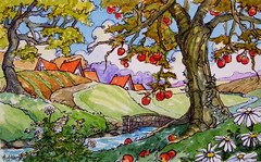 Late September Morning (cottagelover1953) Tags: roof red tree apple daisies vintage stream cottage storybook