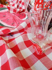 Picnic Red (Cathlon) Tags: red glass check picnic drink coke handpainted ants cocacola 365 tablecloth watermelons daysincolour