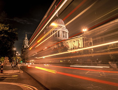 In a rush (Scott Baldock Photography) Tags: road street city uk nightphotography light red bus london art clock church yellow architecture night speed dark lights nikon worship long exposure cathedral streak time britain great stpauls trails rush dome churchyard wren done stpaulscathedral tamron cityoflondon lightroom ec4 cityarchitecture d5000 flickrnova