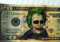 Andrew Joker. (StickyHairdoo) Tags: money laughing photography cool bills andrew jackson joker waste twenty lam ohwell dollars recolor though 2012 worthit kerrick kslims whysoserious stickyhairdoo
