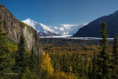 Destination (Ed Boudreau) Tags: clouds river fallcolors bluesky glacier conifer snowpeaks alaskamountains