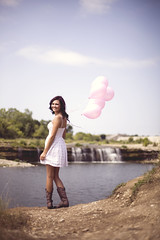 Ashley Cooper. (The Vision Beautiful) Tags: pink red white cute girl beautiful smile hair balloons happy waterfall model pretty cheery dress boots gorgeous cowgirl ashleycooper