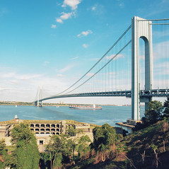 Fort Wadsworth - Verrazano Bridge (.tom troutman.) Tags: nyc bridge summer newyork 120 6x6 film water clouds mediumformat kodak bronica 100 statenisland sq verrazano ektar fortwadsworth