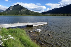 Fishing Pier (Patricia Henschen) Tags: park trees lake canada mountains clouds rockies drive pier lakes rocky canadian national alberta banff roadside northern larch vermilion banffnationalpark vermilionlakes