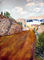 IONIA BY JAIMS ART (jaimsart) Tags: original oil painting jaims art saatchi saatchiart seaside village scene road cottage stormy seas clouds trees green brown blue white