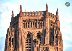 Watching me, Watching you. (alun.disley@ntlworld.com) Tags: liverpoolanglicancathedra architecture religion belltower viewingbay people sandstonebuildings weather sky liverpool merseyside uk cityskylines northwestengland church structure sunset