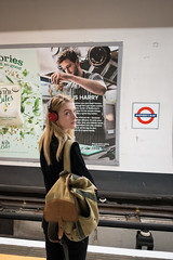 hair seasoning (jaumescar) Tags: london underground tube waiting woman girl hair photo poster cook juxtaposition color man perspective looking one person vertical portrait urban city
