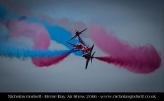 32/52 (IMG_9674) (The God Cell) Tags: redarrows hernebayairshow2016 sky blue red planes smoke crash disaster collision