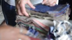 Fabric Swatches (www.WeAreHum.org) Tags: textile nepal thread bobbins gandhi tulsi ashram school for women kathmandu sowing weaving winds threads mechanical loom wood shuttles feet arts