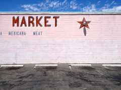 Market  (misterbigidea) Tags: street city pink shadow red food brick sign wall mexicana shopping landscape graffiti star store view market parking letters bluesky meat neighborhood business handpainted lettering grocery stockton coverup