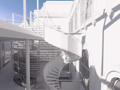 Proposed new typical spiral stair access to existing building and to new roof garden