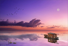 Minimalist (Jean-Michel Priaux) Tags: ocean pink blue sea sky photoshop painting landscape boat dream mauve paysage minimalistic minimalist priaux mygearandme flickrstruereflection1 flickrsfinestimages1