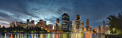River City (Tim Poulton) Tags: city sunset sky water clouds reflections river nikon cityscape brisbane panoramic qld brisbaneriver
