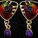 5035. Pair of Artist Signed Gold and Gem Set Earrings