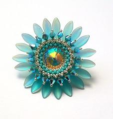 Turquoise 'Sunflower' brooch (Hollybird Beads) Tags: flower crystal handmade turquoise brooch swarovski beadwork