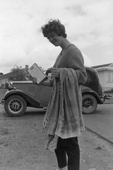 Sue Pepper the Lux woman 17 Nov 1962 (D70) Tags: nov new newzealand bw woman 120 film college pepper student day with kodak 8 towel teacher zealand backdrop 17 sue morris teachers lux washing 1962 ardmore 1937 series1 morriseight morris8