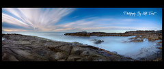 TwentyOne {Explored} (Kiall Frost) Tags: ocean longexposure blue sky panorama seascape beach water clouds digital sunrise landscape photography sand nikon rocks photographer pano australia panoramic nsw stitched portstephens boatharbour nn5 leefilters d7000 kiallfrost