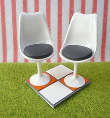 Megahouse Miniature Toys : Little Cafe #4 Retro Design Chairs / Furniture (HarapekoDoggyBag) Tags: furniture interior retro whitechairs megahouse littlecafe designfurniture tileflooring japanesedollhouseminiatures