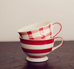 stripes and checks ({JO}) Tags: cups china crockery table redwhite stripes checks stilllife